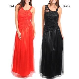 Stanzino Women's Ruched Sheer Asymmetric Shoulder Dress