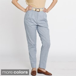 American Apparel Women's Chambray High-Waist Pleated Pants