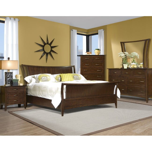 Vaughan Stanford Heights 3-piece Cherry Queen-size Sleigh Bed Set