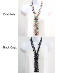 Multistone Cascade Oval Thai Jade Tassel Necklace (Philippines)