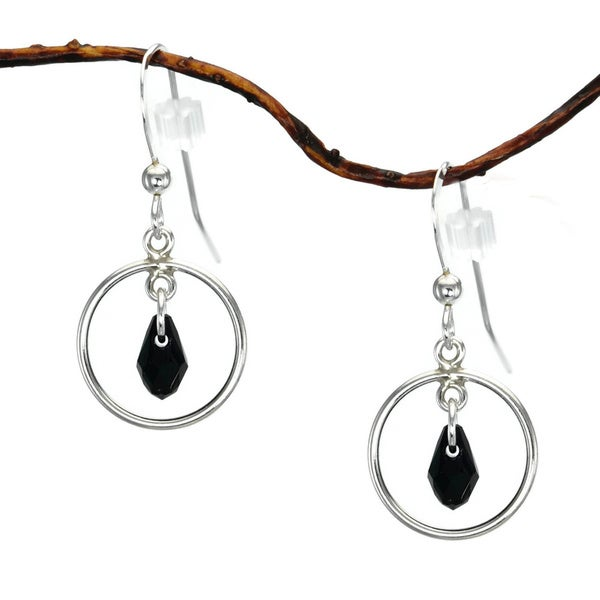 Jewelry by Dawn Small Hoops With Black Austrian Crystal Sterling Silver Earrings 9461043