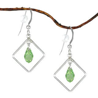 Jewelry by Dawn Diamond Shaped Green Austrian Crystal Sterling Silver Earrings