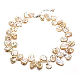 DaVonna Silver Fancy Pink FW Keshi Pearl 18-inch Necklace (14-18 mm)