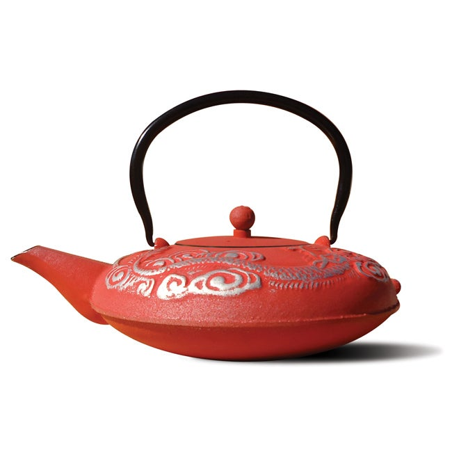 Old Dutch Red/ Silver Cast Iron 'Nara' Teapot