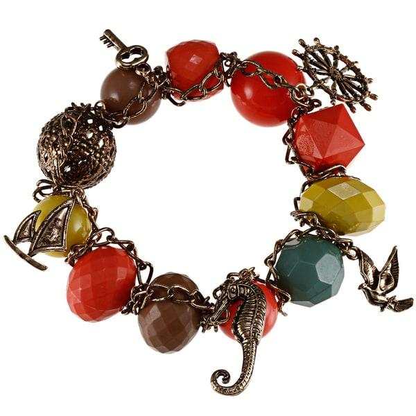 Bronze-tone Created Coral Bead Charm Bracelet
