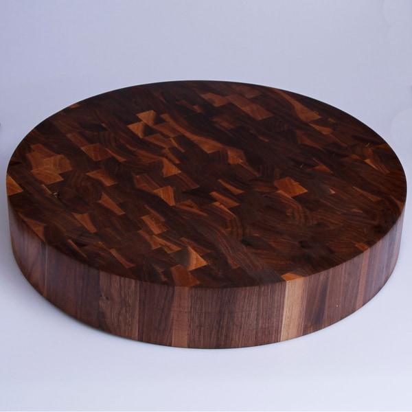 Kobi Walnut Wood Round Butcher Block Cutting Board