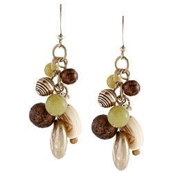 Alexa Starr Goldtone Jade and White Turquoise Cluster Earrings