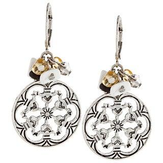 Alexa Starr Silvertone Crystal and Howlite Filigree Disc Earrings