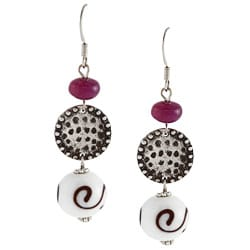 Alexa Starr Silvertone Purple Agate and Glass Bead Earrings