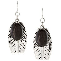 Alexa Starr Silvertone Black Striped Agate Leaf Earrings