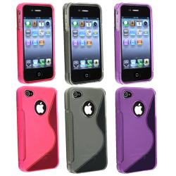 Hot Pink/ Smoke/ Dark Purple TPU Rubber Case for Apple iPhone 4/ 4S