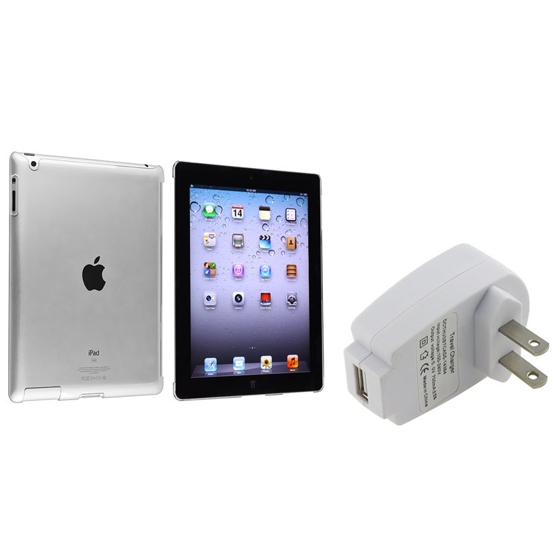 INSTEN Crystal Tablet Case Cover/ White Travel Charger for Apple iPad 3/ 4