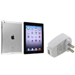 BasAcc Crystal Case/ White Travel Charger for Apple� iPad 3/ 4