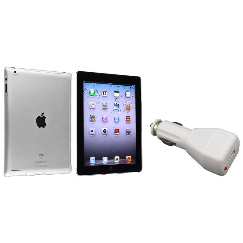 INSTEN Crystal Tablet Case Cover/ White Car Charger for Apple iPad 3/ 4
