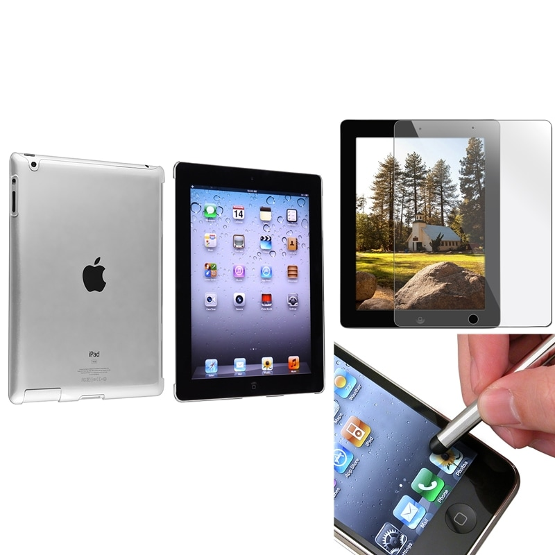 INSTEN Crystal Tablet Case Cover/ Screen Protector/ Silver Stylus for Apple iPad 3/ 4