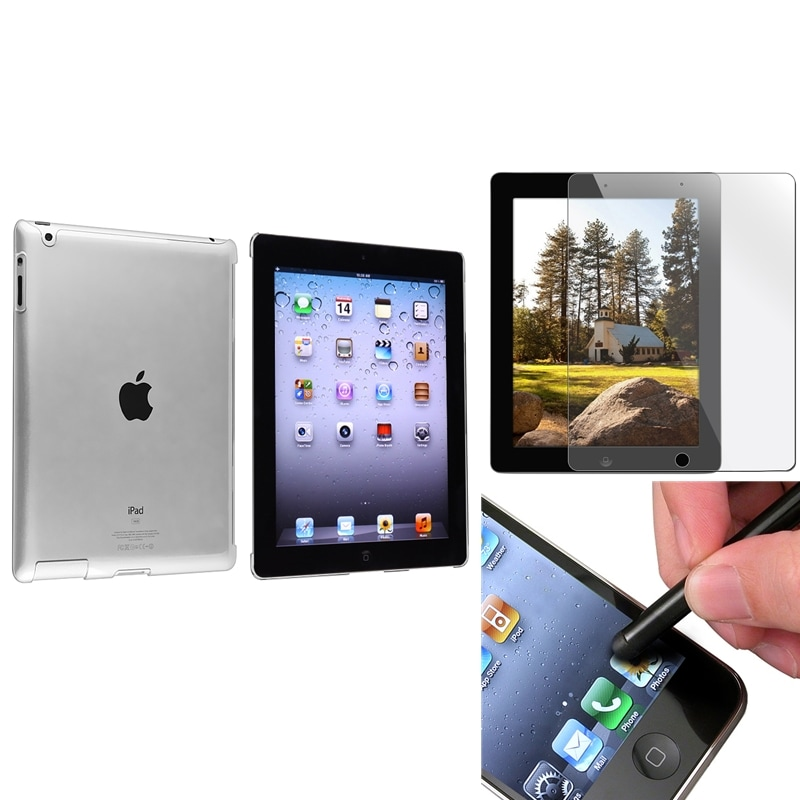 INSTEN Crystal Tablet Case Cover/ Screen Protector/ Black Stylus for Apple iPad 3/ 4