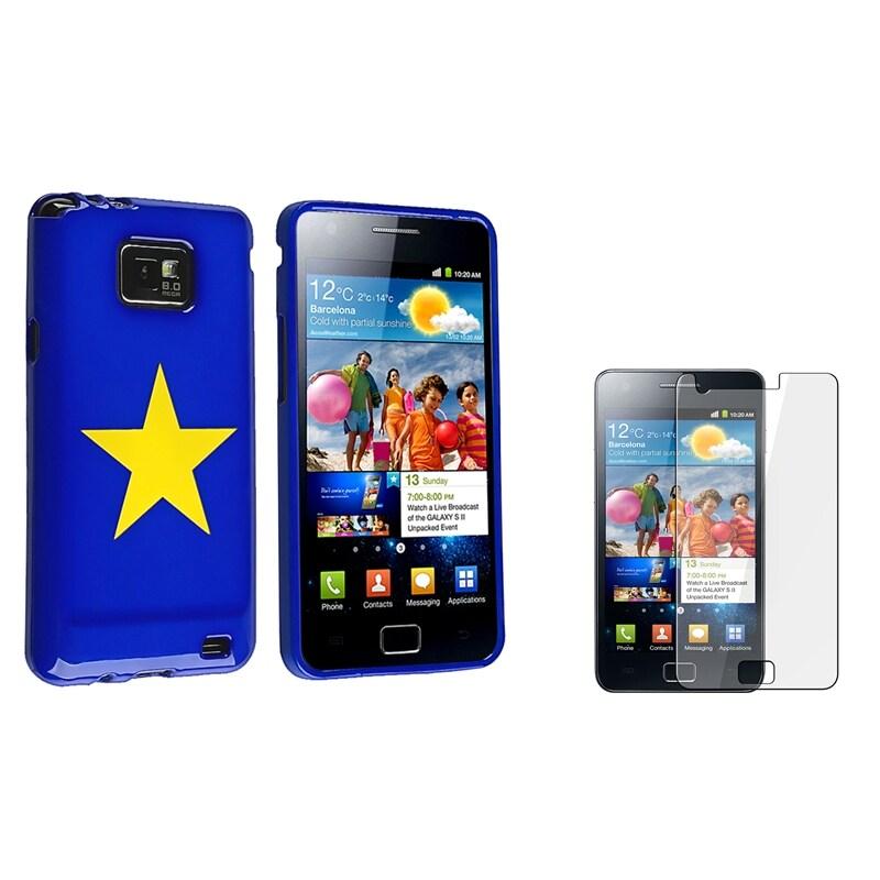 Blue TPU Case/ Screen Protector for Samsung© Galaxy S II i9100
