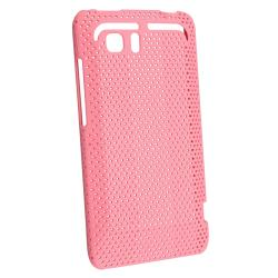 Hot Pink Rubber Coated Case/ Screen Protector for HTC Vivid