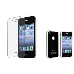 TPU Bumper Case/Anti-Glare Screen Protector Bundle for Apple iPhone 4/4S