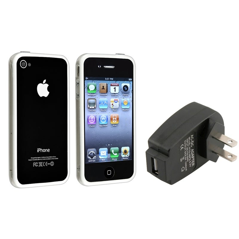 Clear/ White TPU Bumper Case/ Black Charger for Apple® iPhone 4/ 4S