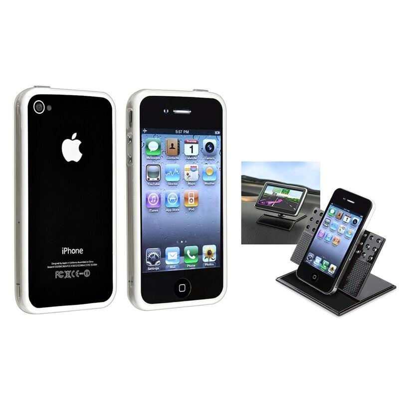 Clear/ White TPU Bumper Case/ Car Phone Holder for Apple® iPhone 4/ 4S