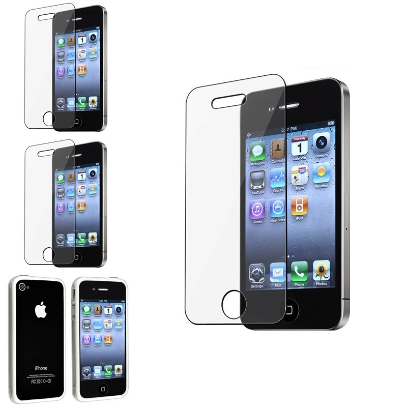 Four-Piece Clear/White TPU Bumper Case/Screen Protector for Apple iPhone 4/4S