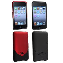 Red/ Black Rubber Coated Cases for Apple iPod Touch 3rd Generation