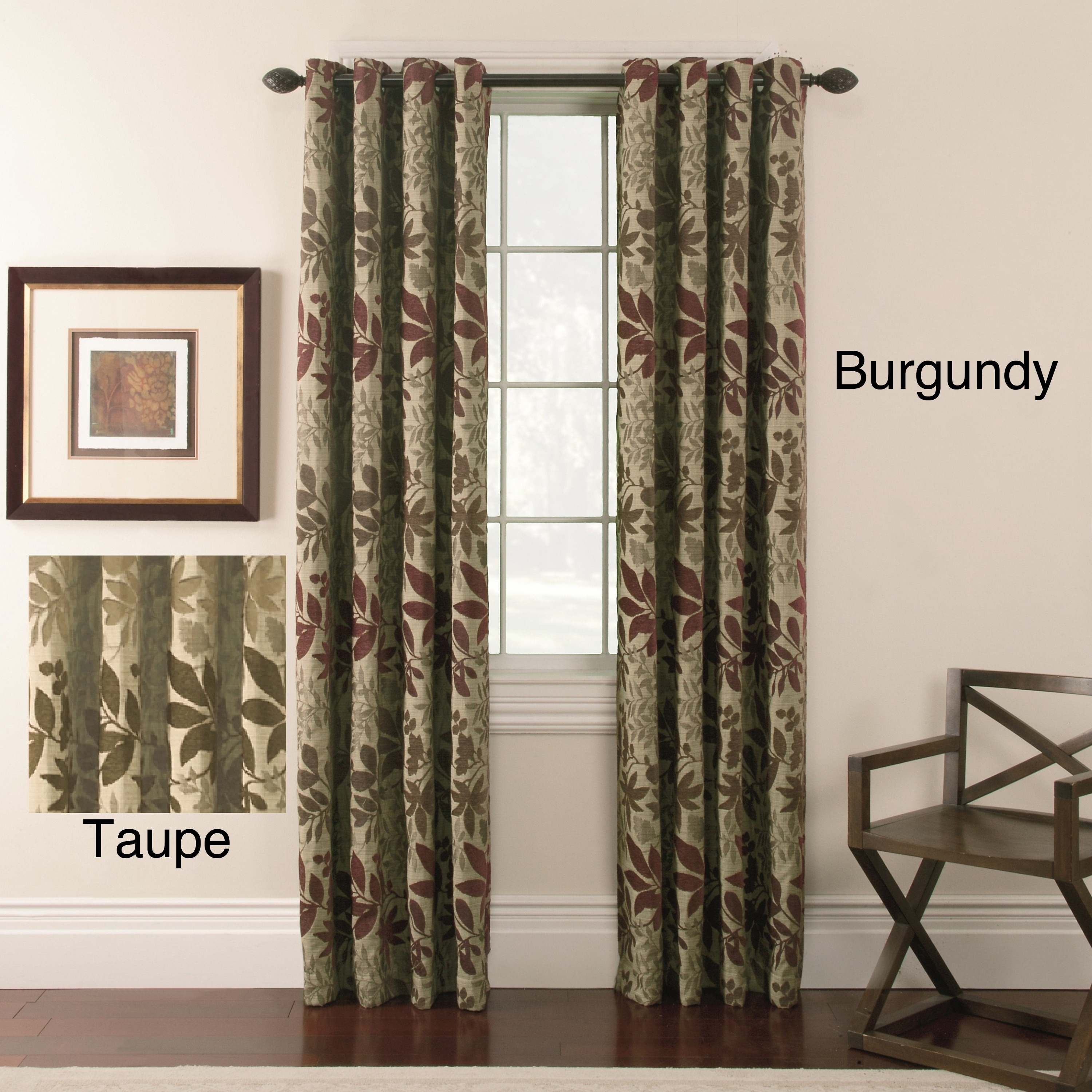 Chenille Leaf Grommet Top 84 inch Curtain Panel Pair at Sears.com