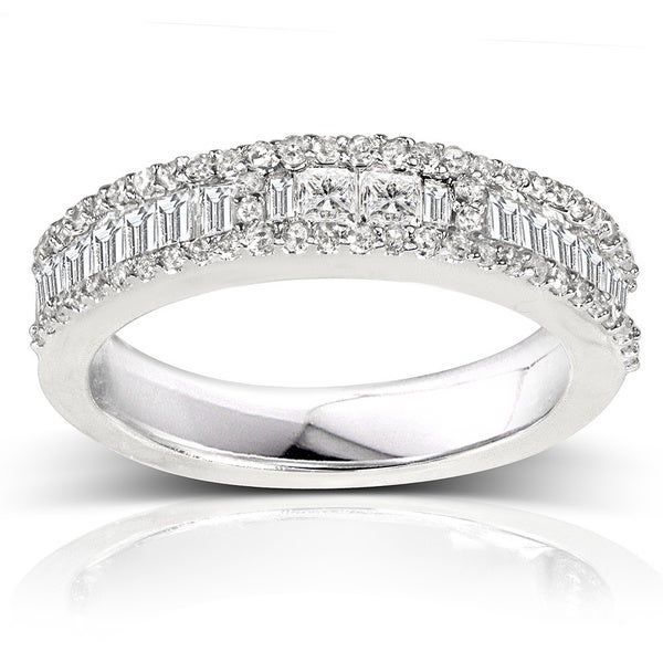 Annello 14k White Gold 4/5ct TDW Baguette Diamond Band (H-I, I2)