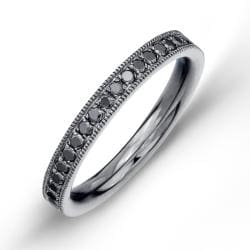 Sterling Silver Men's 3/8ct TDW Black, Brown or Blue Diamond Semi-eternity Ring