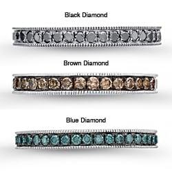 Sterling Silver Men's 3/8ct TDW Black, Brown or Blue Diamond Semi-eternity Ring