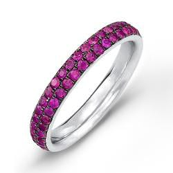 Sterling Silver Sapphire or Ruby Eternity Band