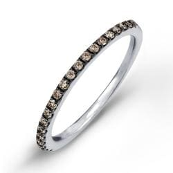 Sterling Silver 1/5ct TDW Brown Diamond Pave Stackable Band