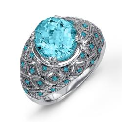 Sterling Silver Blue Topaz and 1/3ct TDW Blue Diamond Ring
