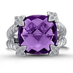 Sterling Silver Amethyst and 1/10ct TDW Diamond Ring (J-K, I2-I3)