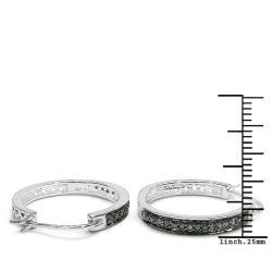 Malaika Sterling Silver 2/5ct TDW Blue Diamond Hoop Earrings