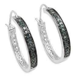 Malaika Sterling Silver 2/5ct TDW Blue Diamond Hoop Earrings