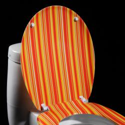 Orange Cabana Stripe Designer Melamine Toilet Seat