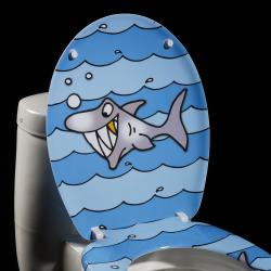 Cartoon Shark Designer Melamine Toilet Seat Cover