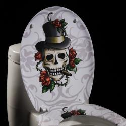Skull and Roses Designer Melamine Toilet Seat Cover