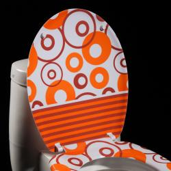 Orange Circles Designer Melamine Toilet Seat Cover