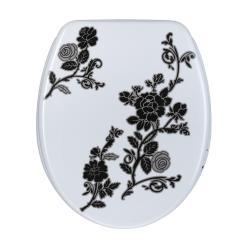 Black/ White Floral Designer Melamine Toilet Seat Cover
