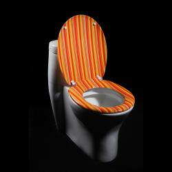 Orange Cabana Stripe Designer Melamine Toilet Seat