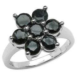 Malaika Sterling Silver Round-cut Black Sapphire Cluster Ring