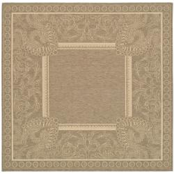 Indoor/ Outdoor Abaco Brown/ Natural Rug (7'10 Square)