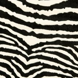 Lyndhurst Collection Zebra Black/ White Rug (5' 3 Round)