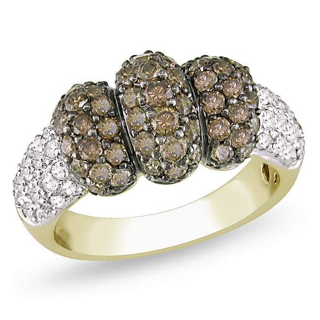 Miadora 14k Yellow Gold 1 1/2ct TDW Brown Diamond Ring (G-H, I1-I2)