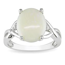 Sterling Silver Opal and Diamond Fashion Ring