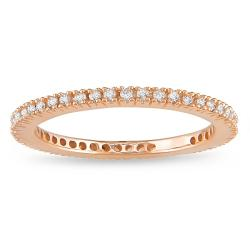 Miadora 18k Pink Gold 1/3ct TDW Diamond Eternity Ring (G-H, SI1-SI2)