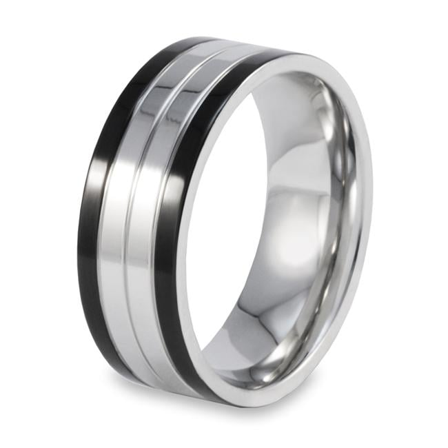 West Coast Jewelry Stainless Steel Polished Black Edge Ring
